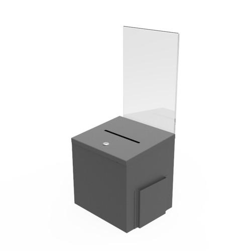 Red Metal Donation Suggestion 9 x 9 x 9 10918 10918-RED FixtureDisplays Box