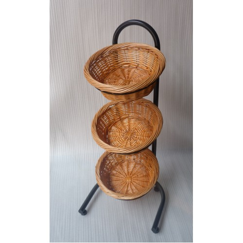 3 Tiered Basket Stand Sign Clips Wicker Black 19425