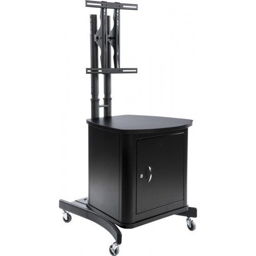TV Stand with Locking Cabinet for Internal Storage Space