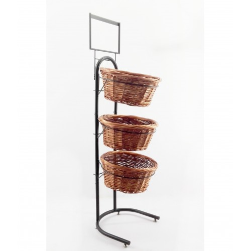 Fixturedisplays 3 Tiered Wicker Basket Produce Bakery Floor Stand W Sign Holder 31042