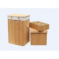 Set of 3 Laundry Hampers Bamboo Square Wicker Clothes Bin Baskets Storage Bin Organizers 100205