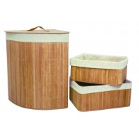 Set of 3 Laundry Hampers Bamboo Corner Wicker Clothes Bin Baskets Storage Bin Organizers 100206