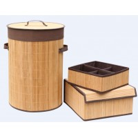 Set of 3 Laundry Hampers Bamboo Round Wicker Clothes Bin Baskets Storage Bin Organizers 100207
