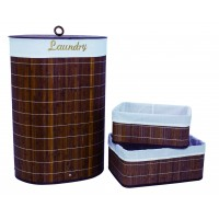 Set of 3 Laundry Hampers Bamboo Oval Wicker Clothes Bin Baskets Storage Bin Organizers 100208