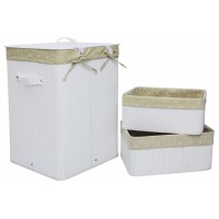 Set of 3 Laundry Hampers Bamboo Square Wicker Clothes Bin Baskets Storage Bin Organizers 100209