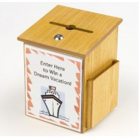 Fixture Displays® Donation Box Tithing Box Suggestion Ballot Box with Acrylic Sign Holder 1040-8511MO+12065
