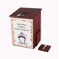 Fixture Displays® Donation Box Tithing Box Suggestion Ballot Box with Acrylic Sign Holder 1040-8511RM+12065