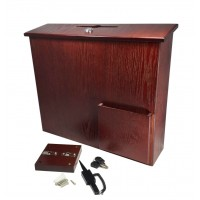 Fixture Displays® Box, Collection Donation Charity, Suggestion, Fund-raising, Red Mahogany MDF 104085-RM