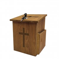 Fixture Displays® Box, Church Collection Donation Charity w/ Cross 10885