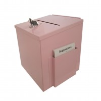 Fixture Displays® Pink Metal Donation Box Suggestion Fund-Raising Collection Charity Ballot Box 10918-PINK
