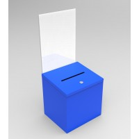 Fixture Displays Blue Metal Donation Box Suggestion Fund-Raising Collection Charity Ballot Box w/ A4 Acrylic Header 10918BLUE