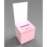 Fixture Displays Pink Metal Donation Box Suggestion Fund-Raising Collection Charity Ballot Box w/ A4 Acrylic Header 10918PINK