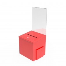 Fixture Displays RED Metal Donation Box Suggestion Charity Key Drop Fund Raising Sign Holder 11573RED