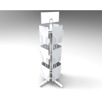 FixtureDisplays 12 Vertical Pockets White Display, Greeting Post Card Christmas Holiday Spinning Rack Stand 11702-WHITE