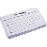 Entry Forms, Pad of 100 Sheets - White 119582