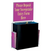 Ballot Box with 14 x 11 Header, 2 Side Pockets, Pen & Lock, Wall Mount - Black 119583