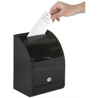 Metal Ballot Box with Lock, Wall Mount or Countertop, Curved Front Design - Black 119596