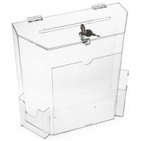 "Acrylic Ballot Box w/ 8.5"" x 11"" Frame, Lock & 2 Pockets, Wall or Tabletop – Clear 119600"