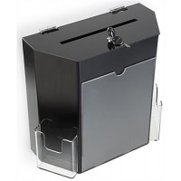 "Acrylic Ballot Box with 8.5"" x11""Frame, Lock & 2 Pockets, Wall or Tabletop – Black 119601"