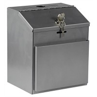 Metal Ballot Box with Front Pocket & Lock, Wall Mount or Countertop - Silver 119608