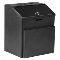 Metal Ballot Box with Front Pocket & Lock, Wall Mount or Countertop - Black 119609