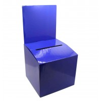 7PK Cardboard Ballot Box with Removable Header, Slanted Top - Blue 119614
