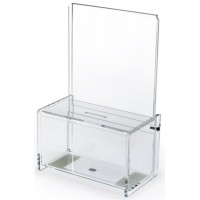Acrylic Donation Box with 6 x 6 Header - Clear 119637