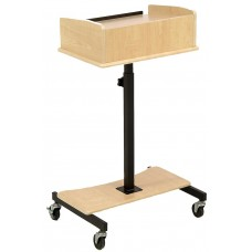 "24""W Adjustable Laptop Stand, with Slide-Out Shelf, Tilting Surface - Maple 119680"