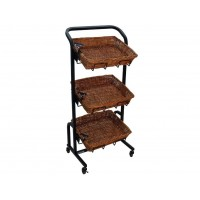 Fixture Displays 3 Tier Rectangular Basket Stand, Wheels, Metal Frame, Wicker - Black 120000