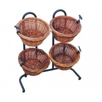 Fixture Displays 2 Tier Basket Stand, Sign Clips, Wicker – Black 120001