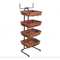 Fixture Displays 4 Tier Basket Stand, Sign Frame, Wicker - Black 120002