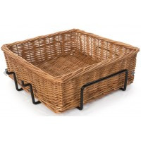 Fixture Displays Square Basket with Wire Frame, Wicker - Black 120003