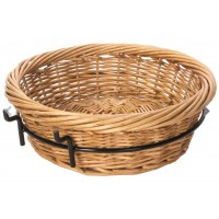 Fixture Displays Round Basket with Wire Frame, Wicker - Black 120004