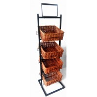 Fixture Displays 4 Tier Basket Stand Wicker Basket Bakery Rack Produce Stand Food Rack Fruit, Wicker - Black 120005