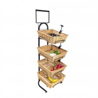 Fixture Displays 4 Tier Basket Stand, Sign Clips, Wicker - Black 120006