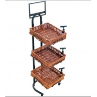 Fixture Displays 3 Tier Basket Stand, Sign Clips, Wicker - Black 120007