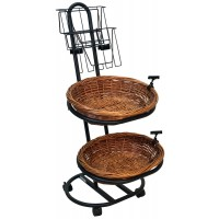 Fixture Displays 2 Tier Oval Basket Stand, 2 Tier Literature Holder, Rolling, Wicker - Black 120010