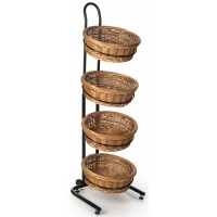 Fixture Displays 4 Tier Round Basket Stand, Height Adjustable, Wheels, Metal Frame, Wicker - Black 120011