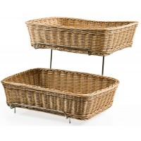 Fixture Displays Tiered Wire Rack w/ 2 Woven Baskets - Brown 120023