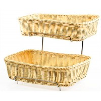 Fixture Displays Tiered Wire Rack w/ 2 Woven Baskets - Natural 120031