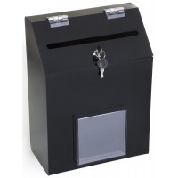 Fixture Displays Acrylic Ballot Box with Lock & 1 Pocket, Wall or Tabletop – Black 120034