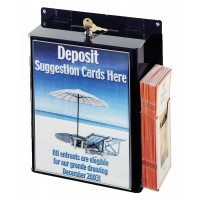 Fixture Displays Ballot Box with 8.5 x 11 Frame, Side Pocket, Lock, Wall Mount - Black 120035