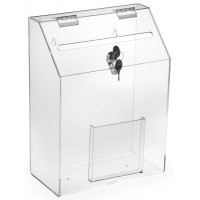 Fixture Displays Acrylic Ballot Box with Lock, Front Pocket, Wall Mount or Tabletop – Clear 120036