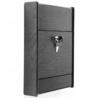 Fixture Displays Wooden Ballot Box for Tabletop or Wall, Locking Hinged Door - Black 120037