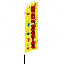 FixtureDisplays® Grand Opening Banner, Flag, Advertising, Pole Set, Outdoor Retail, Open Feather Flag 12013