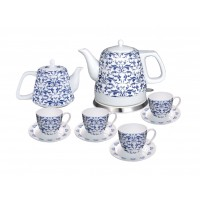 Fixture Displays® Teapot Ceramic English Paisley 10pc Set w/warming plate, Gift, Buffet 12027
