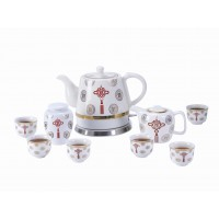 Fixture Displays® Teapot Ceramic Asian Theme w/110V warming plate 10pc, Gift, Buffet,Hotel 1089TE 12028