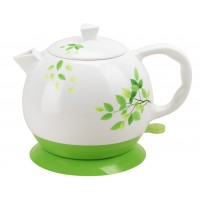 Fixture Displays® Teapot Ceramic Kettle Electric Kettle Water Boiler Green Olive Design 12029