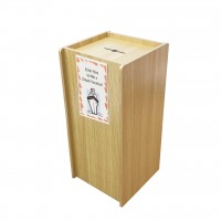 Fixture Displays® Wood Donation Box Tithing Box Fundraising Stand with Sign Holder 13155+12065