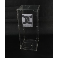Fixture Displays® Clear Plexiglass Acrylic Lucite Donation Box,Fund Raising Stand Display with Sign Holder 13192+12065